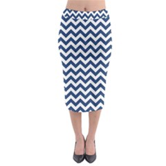 Navy Blue & White Zigzag Pattern Midi Pencil Skirt