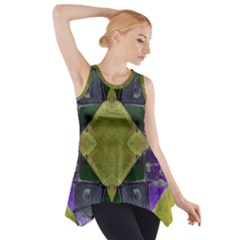 Purple Yellow Stone Abstract Side Drop Tank Tunic