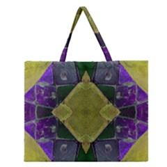 Purple Yellow Stone Abstract Zipper Large Tote Bag