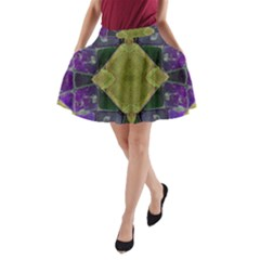 Purple Yellow Stone Abstract A-Line Pocket Skirt