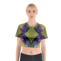 Purple Yellow Stone Abstract Cotton Crop Top