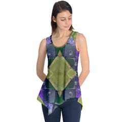Purple Yellow Stone Abstract Sleeveless Tunic