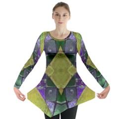 Purple Yellow Stone Abstract Long Sleeve Tunic