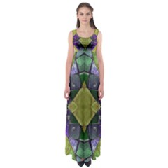 Purple Yellow Stone Abstract Empire Waist Maxi Dress