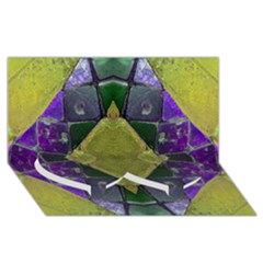 Purple Yellow Stone Abstract Twin Heart Bottom 3D Greeting Card (8x4)