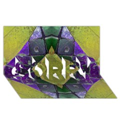 Purple Yellow Stone Abstract SORRY 3D Greeting Card (8x4)