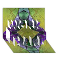 Purple Yellow Stone Abstract WORK HARD 3D Greeting Card (7x5)