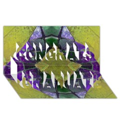 Purple Yellow Stone Abstract Congrats Graduate 3D Greeting Card (8x4)