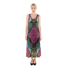 Pink Turquoise Stone Abstract Sleeveless Maxi Dress