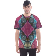 Pink Turquoise Stone Abstract Men s Sport Mesh Tee