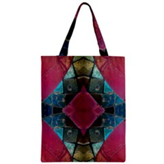 Pink Turquoise Stone Abstract Zipper Classic Tote Bag