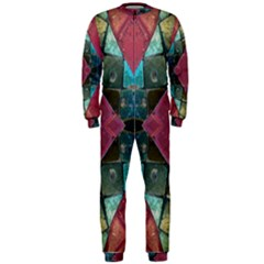 Pink Turquoise Stone Abstract OnePiece Jumpsuit (Men)