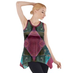 Pink Turquoise Stone Abstract Side Drop Tank Tunic