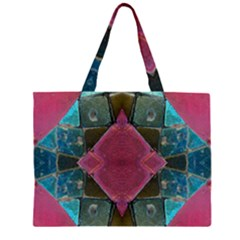 Pink Turquoise Stone Abstract Zipper Large Tote Bag