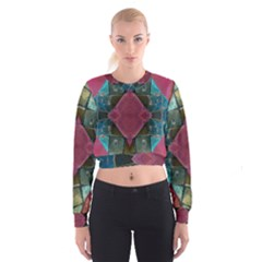 Pink Turquoise Stone Abstract Women s Cropped Sweatshirt