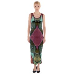 Pink Turquoise Stone Abstract Fitted Maxi Dress