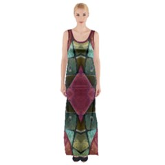 Pink Turquoise Stone Abstract Maxi Thigh Split Dress