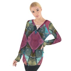 Pink Turquoise Stone Abstract Women s Tie Up Tee