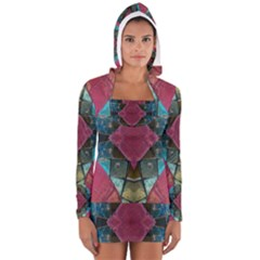Pink Turquoise Stone Abstract Women s Long Sleeve Hooded T-shirt