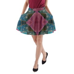 Pink Turquoise Stone Abstract A-Line Pocket Skirt