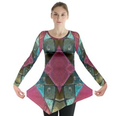 Pink Turquoise Stone Abstract Long Sleeve Tunic