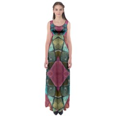 Pink Turquoise Stone Abstract Empire Waist Maxi Dress
