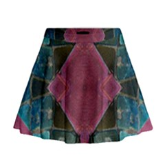 Pink Turquoise Stone Abstract Mini Flare Skirt