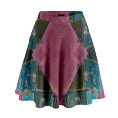 Pink Turquoise Stone Abstract High Waist Skirt