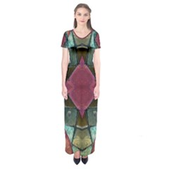Pink Turquoise Stone Abstract Short Sleeve Maxi Dress