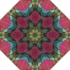 Pink Turquoise Stone Abstract Folding Umbrellas