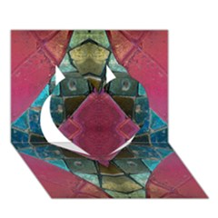Pink Turquoise Stone Abstract Heart 3d Greeting Card (7x5)