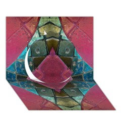 Pink Turquoise Stone Abstract Circle 3D Greeting Card (7x5)