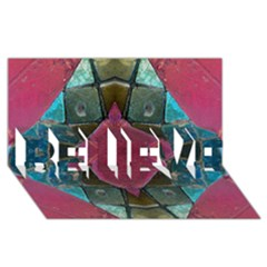 Pink Turquoise Stone Abstract Believe 3d Greeting Card (8x4)