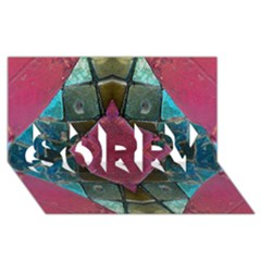 Pink Turquoise Stone Abstract SORRY 3D Greeting Card (8x4)