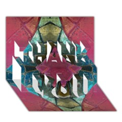 Pink Turquoise Stone Abstract THANK YOU 3D Greeting Card (7x5)