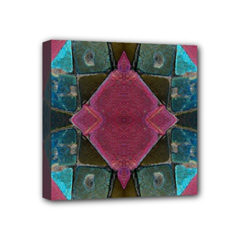 Pink Turquoise Stone Abstract Mini Canvas 4  x 4