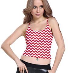 Poppy Red & White Zigzag Pattern Spaghetti Strap Bra Top