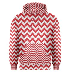 Poppy Red & White Zigzag Pattern Men s Pullover Hoodie