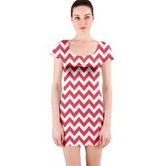 Poppy Red & White Zigzag Pattern Short Sleeve Bodycon Dress