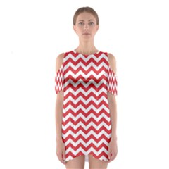 Poppy Red & White Zigzag Pattern Cutout Shoulder Dress