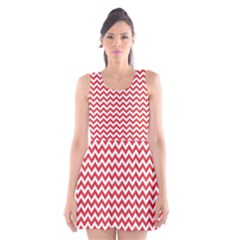 Poppy Red & White Zigzag Pattern Scoop Neck Skater Dress