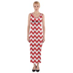 Poppy Red & White Zigzag Pattern Fitted Maxi Dress