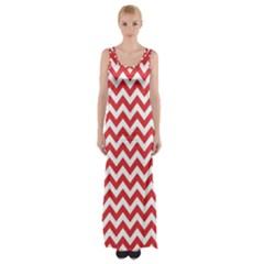 Poppy Red & White Zigzag Pattern Maxi Thigh Split Dress