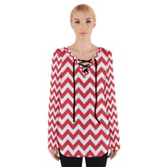 Poppy Red & White Zigzag Pattern Women s Tie Up Tee