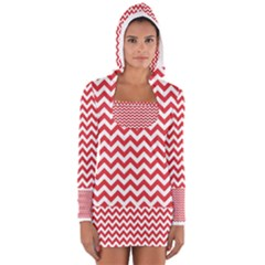 Poppy Red & White Zigzag Pattern Women s Long Sleeve Hooded T-shirt