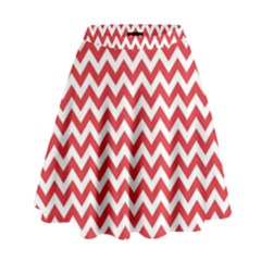 Poppy Red & White Zigzag Pattern High Waist Skirt
