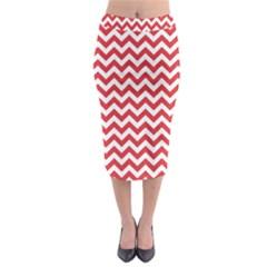 Poppy Red & White Zigzag Pattern Midi Pencil Skirt