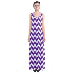 Royal Purple & White Zigzag Pattern Sleeveless Maxi Dress