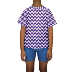 Royal Purple & White Zigzag Pattern Kid s Short Sleeve Swimwear