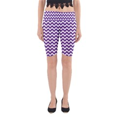Royal Purple & White Zigzag Pattern Yoga Cropped Leggings